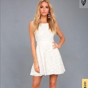 Lulus Daisy White Lace Skater Dress